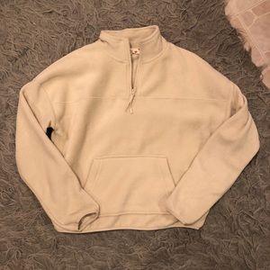 half zip fleece sweatshirt
